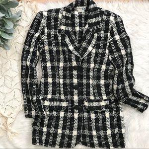 Vintage 90's Black Cream Plaid Long Blazer Jacket
